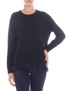 Parosh - Black crewneck pullover with feathers