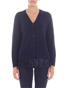 Parosh - Blue cardigan with feathers