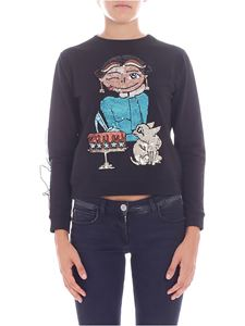 Elisabetta Franchi - Black sweatshirt with multicolor sequined embroidery