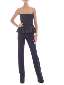 Elisabetta Franchi - Black jumpsuit with embroidered top