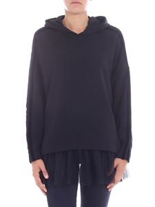 Parosh - Black sweatshirt with tulle lining