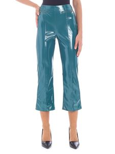 Elisabetta Franchi - Turquoise-color patent fabric trousers