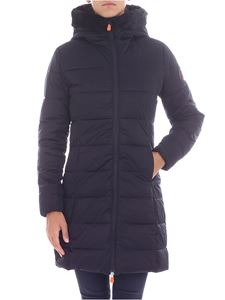Save the duck - Long black eco-fur down jacket