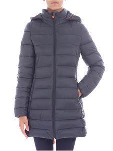 Save the duck - Flared dark grey hooded down jacket