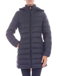 Save the duck - Flared black hooded down jacket