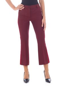 Parosh - Burgundy trousers with velvet edges