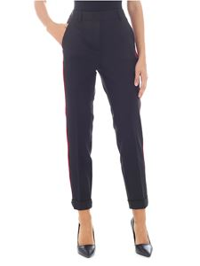Parosh - Black trousers with velvet edges