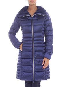 Save the duck - Long indigo quilted down jacket