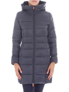 Save the duck - Dove grey long hooded down jacket