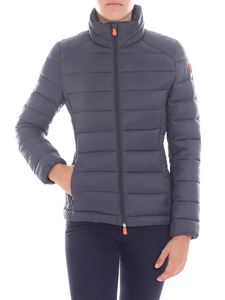 Save the duck - Dark grey down jacket with logo