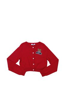 "Moschino Kids - Red cardigan with ""Teddy Bear"" logo"