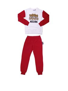 """Moschino Kids - """"Teddy"""" red and white fleece-lined set"""