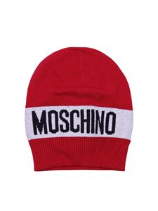 Moschino Kids - Red beanie with logo motif