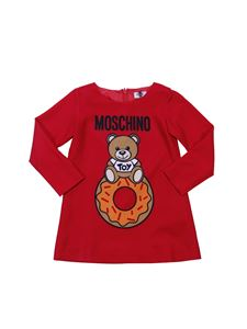 Moschino Kids - Red flared dress with logo