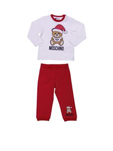 "Moschino Kids - ""Teddy"" white and red fleece-lined set"