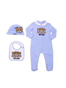 "Moschino Kids - Light-blue and white set with logo ""Teddy"""