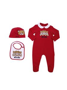 "Moschino Kids - Red and white set with ""Teddy"" logo"