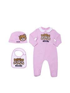 "Moschino Kids - Pink and white set with ""Teddy"" logo"