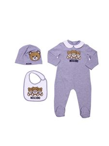 "Moschino Kids - Grey and white set with ""Teddy"" logo"