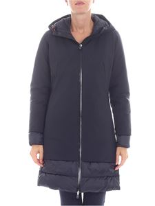 Save the duck - Long flared black down jacket