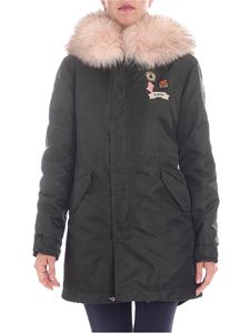 Mr&Mrs Italy - Green parka jacket with pink fur