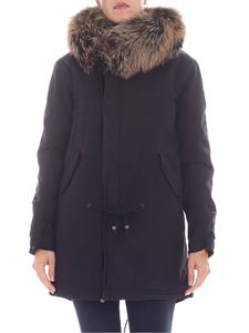 Mr&Mrs Italy - Black parka jacket with fur insert
