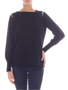 Fabiana Filippi - Black pullover with beads on shoulders
