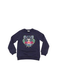 "Kenzo - Blue ""Tiger"" sweatshirt with multicolor embroidery"