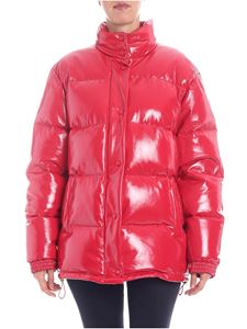 Alberta Ferretti - Red patent down jacket with wrinkled effect