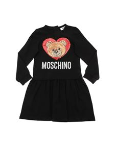 Moschino Kids - Black dress with sequined logo insert