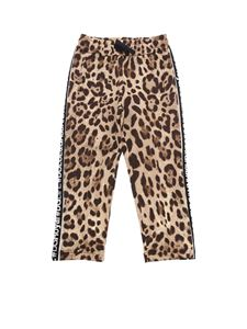 Dolce & Gabbana Jr - Animal printed beige trousers