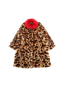 Dolce & Gabbana Jr - Animal printed eco-fur coat with red buttons
