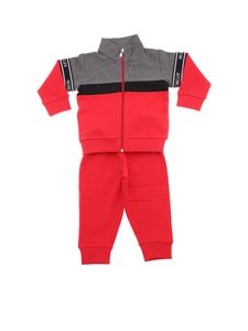 Moncler Jr - Red and gray colorblock jumpsuit