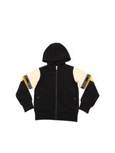 Moncler Jr - Black and yellow jumpsuit with branded stripes