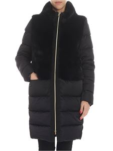 Herno - Black down jacket with eco-fur insert