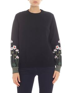 Red Valentino - Black pullover with floral embroidery