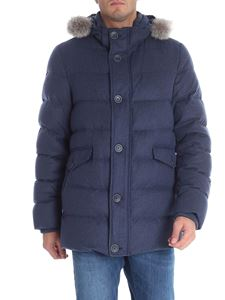 Herno - Blue silk and cashmere down jacket