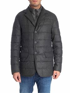 Herno - Grey melange wool down jacket