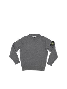 Stone Island Junior - Dark grey crew neck pullover