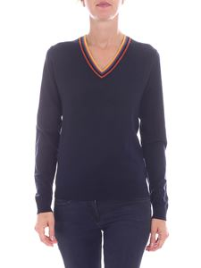 Paul Smith - Blue pullover with multicolor neckline