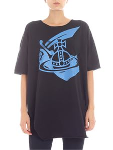 Vivienne Westwood Anglomania - Black overfit t-shirt with turquoise logo
