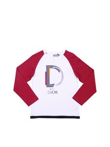 Baby Dior - White and red crewneck T-shirt