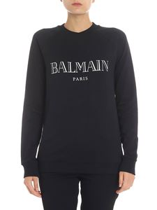 Balmain - Black sweatshirt with iridescent logo print