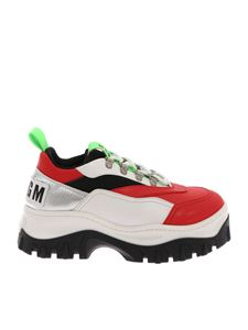 MSGM - Red and white Chunky sneakers with logo