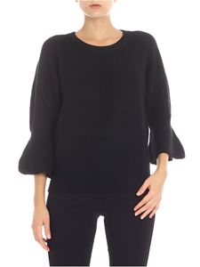 Michael Kors - Black crewneck pullover with flared sleeve