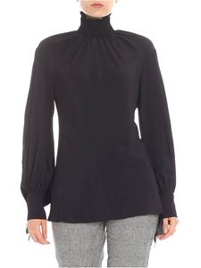 KI6? Who are you? - Blusa nera punto smock sullo scollo
