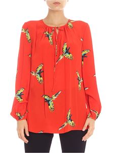 Diane von Fürstenberg - Red blouse with parrots print