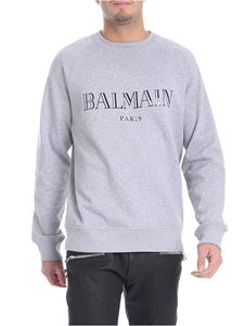 Balmain - Gray sweatshirt with black logo print