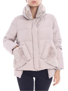 Diego M - Pearl grey down jacket with side buttons