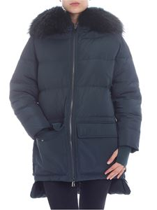 Diego M - Green down jacket with fur insert
